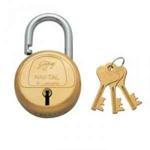 Godrej Navtal 6 Levers Brass Padlock (3 Keys), 3279