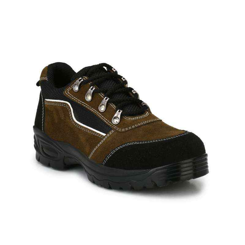 mBold R502 Steel Toe Black & Brown Safety Shoes, Size: 9