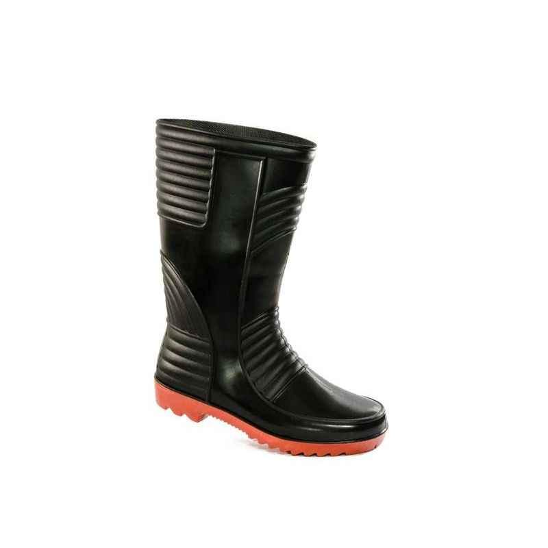 Hillson 12 Inch Welsafe Plain Toe Black & Red Gumboots, Size: 9