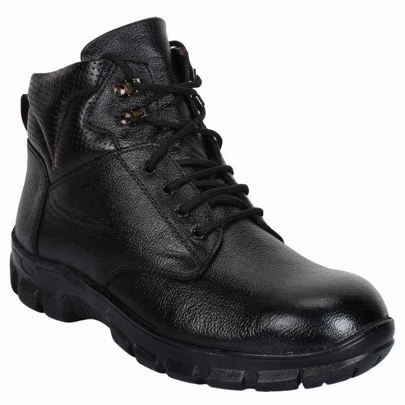 SeeandWear 73 Leather Steel Toe Black Safety Shoes, Size: 7