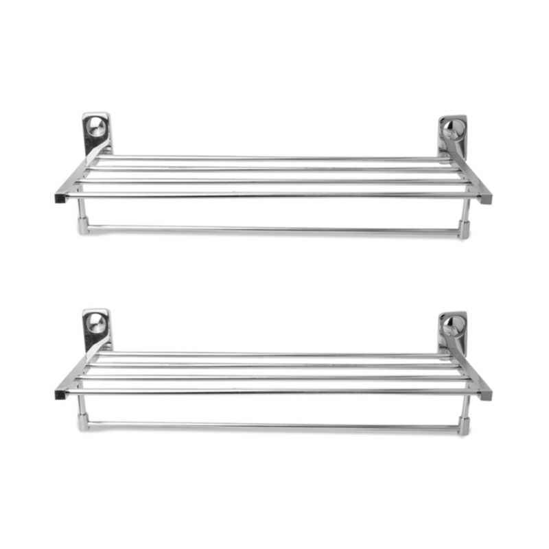 Abyss ABDY-0773 24 Inch Glossy Finish Stainless Steel Bathroom Towel Rack (Pack of 2)