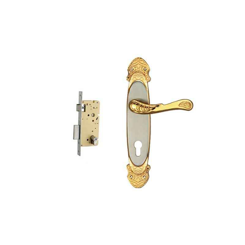 Plaza Athens Gold Silver Finish Handle with 250mm Pin Cylinder Mortice Lock & 3 Keys
