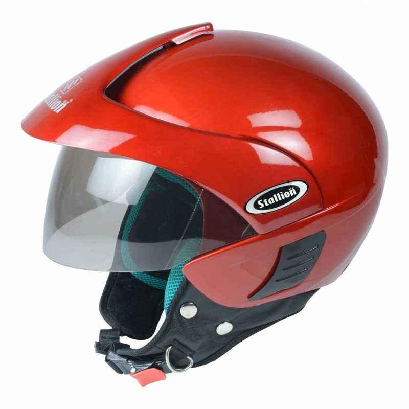 Stallion BLK Triomax Open Face Red Motorbike Helmet, Size: M
