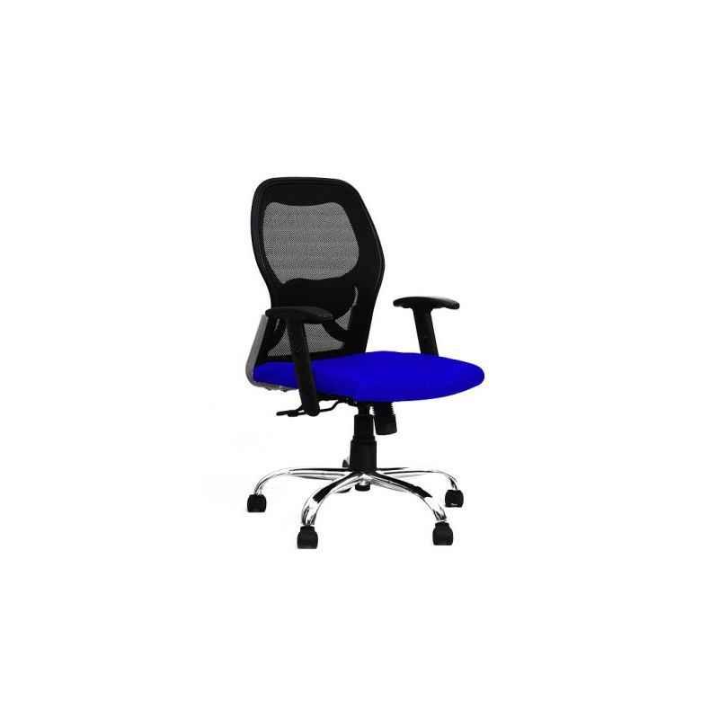 R P Enterprises Apollo Medium Back Blue Office Chair, Dimensions: 45x48x60 cm