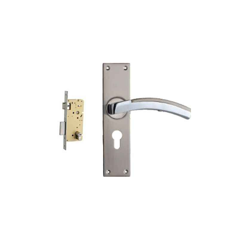 Plaza Jaguar Stainless Steel Finish Handle with 250mm Pin Cylinder Mortice Lock & 3 Keys