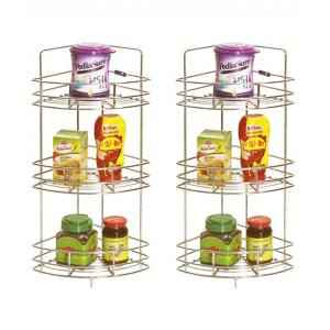 Abyss ABDY-0116 Corner Stainless Steel Chrome Triple Basket (Pack of 2)
