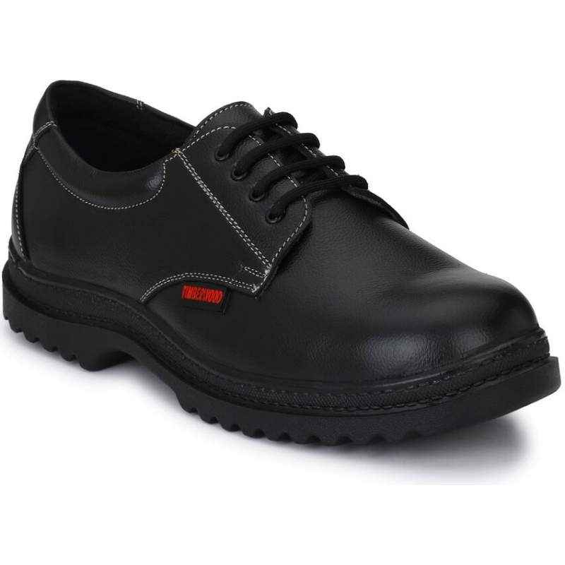 Timberwood TW04 Genuine Leather Steel Toe Black Safety Shoes, Size: 10