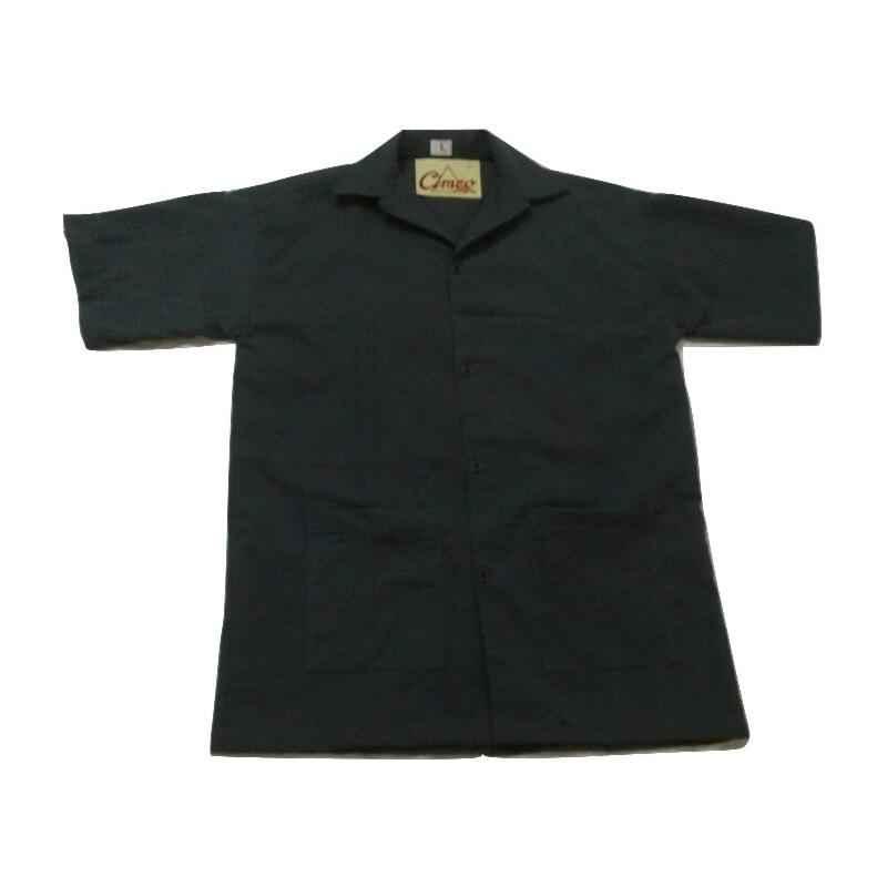 Ishan Grey Terry Cotton Fabric Half Sleeve Lab Coat, 5433, Size: Medium