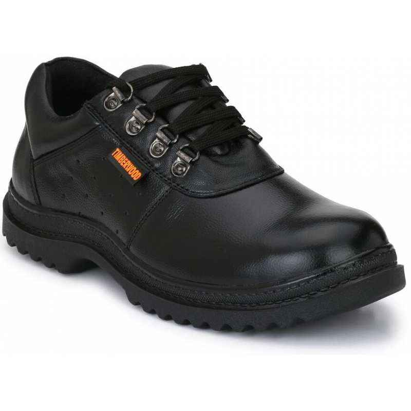 Timberwood TW12 Genuine Leather Steel Toe Black Safety Shoes, Size: 8