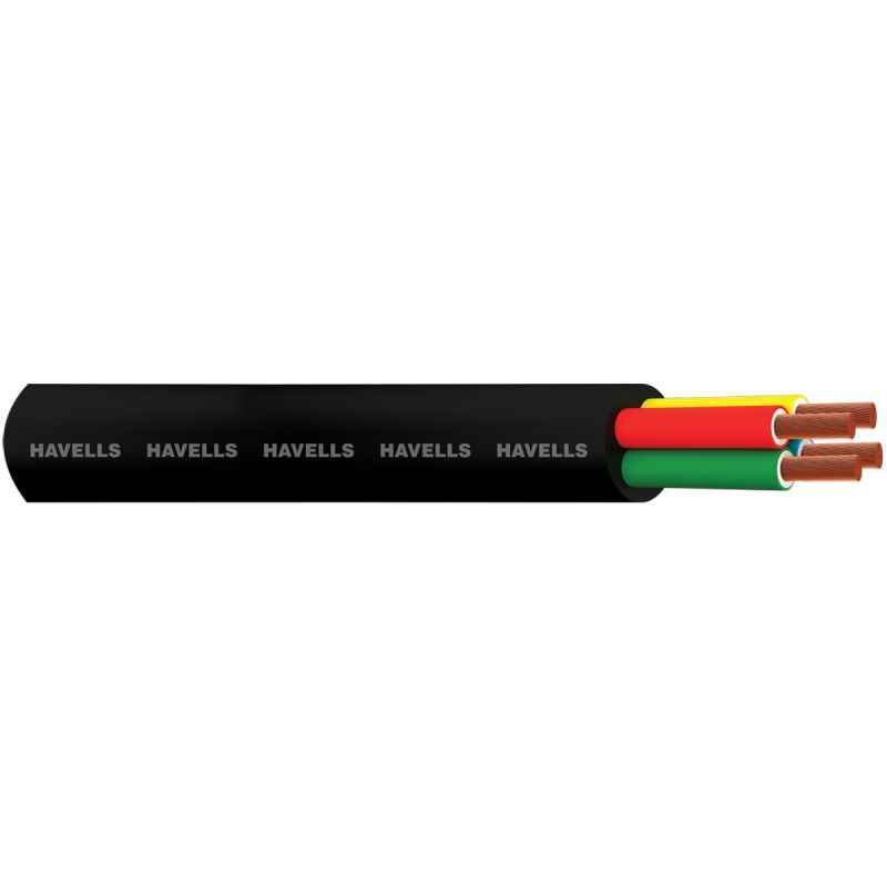 Havells 0.5 Sqmm 4 Core 100m Black Flexible Cable, WHMFDSKB4X50
