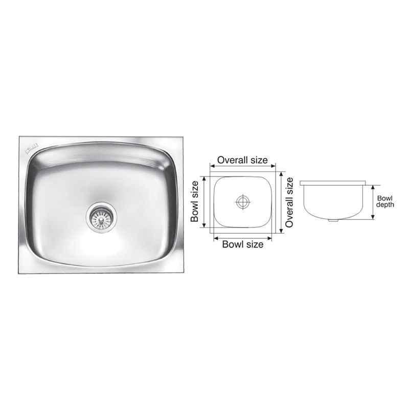Nirali Glister Satin Finish Kitchen Sink, Size: 685x510 mm