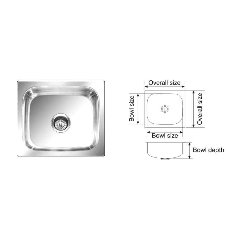 Nirali Grace Plain 305x305mm Satin Finish Kitchen Sink