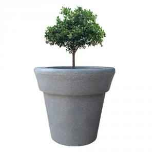 Yuccabe Italia 15 Inch Round Grey Hybrid Polymer Planter, ELN1415-G
