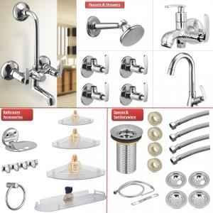 Jainex Irene Collection Bathroom Premium Combo Set with Overhead Shower & Free Tap Cleaner, IRN-5000