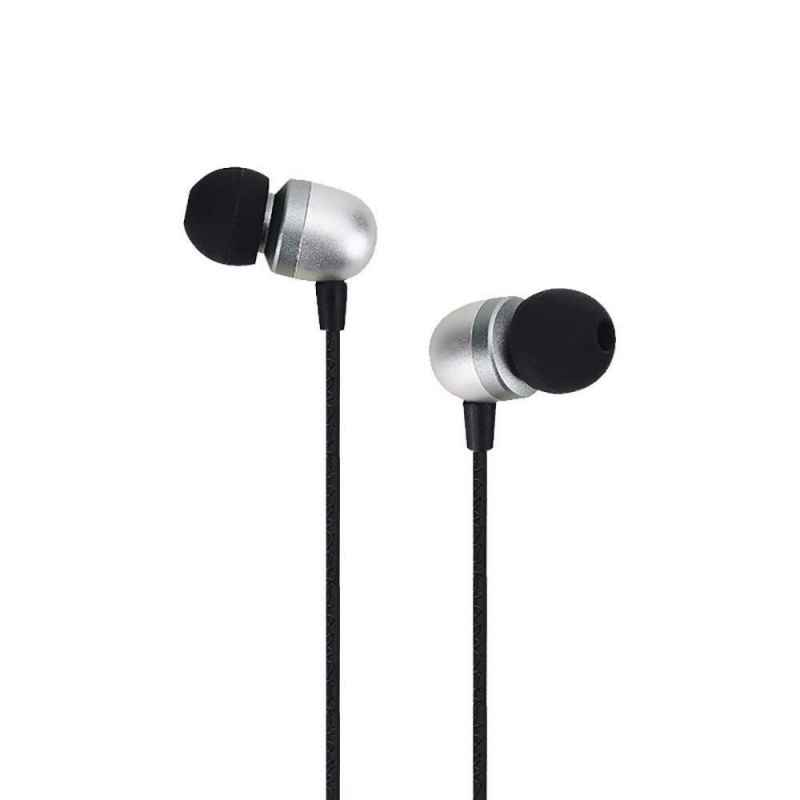 Ambrane Silver Wired Metal Headset with Mic, EP-40