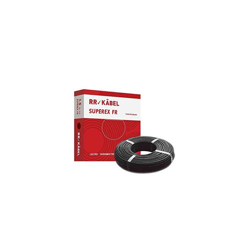 RR Kabel Superex-FR 1.5 Sq mm Black PVC Insulated Cable, Length: 90 m