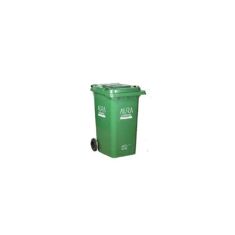 Aura Sunshine 240 Litre Green Plastic Industrial Wheel Dustbin, AURA 240L