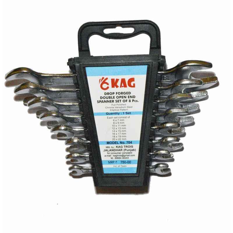 Kag 704 8 Pieces Double Open End Spanners Set