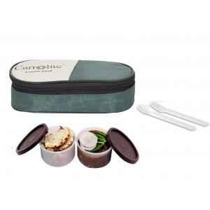 Carrolite 400ml 2-in-1 Green & Brown Plastic Lunchbox, Brown_P-25