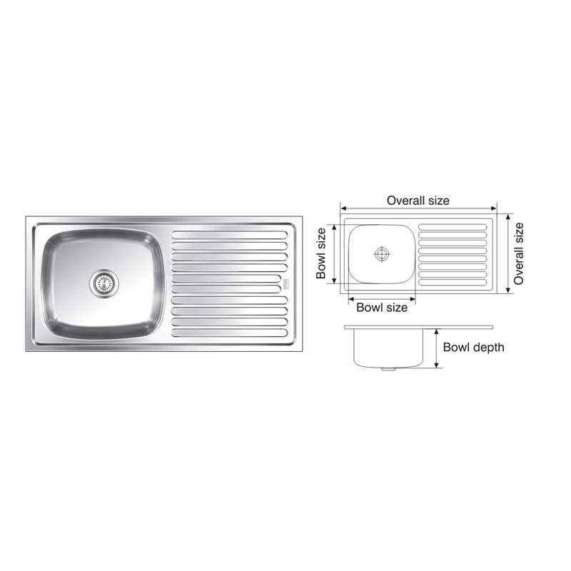 Nirali Elegance 915x460mm Satin Finish Kitchen Sink
