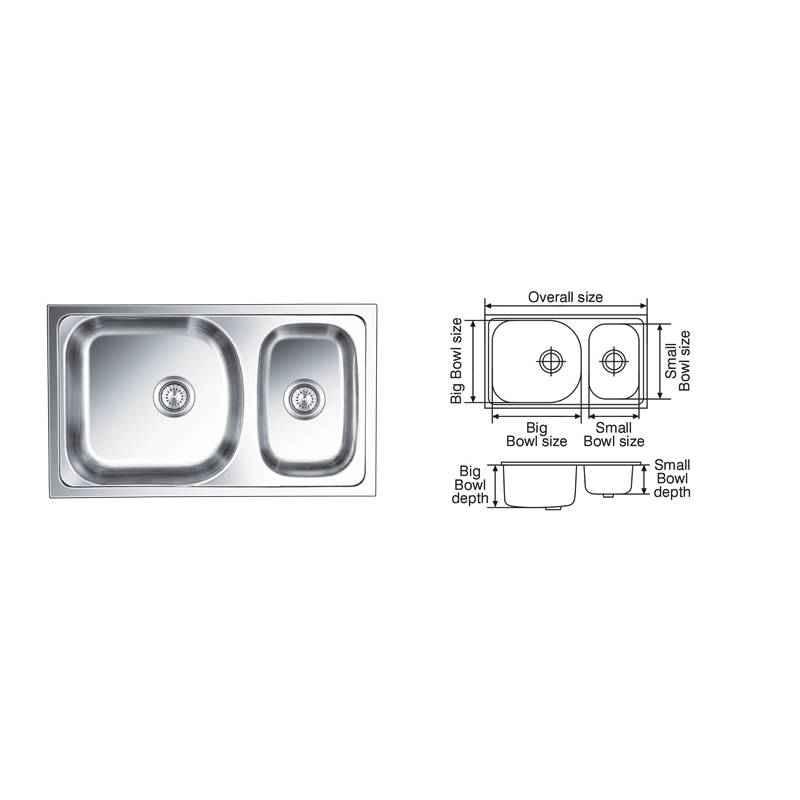Nirali Gloria Satin Finish Kitchen Sink, Size: 865x510 mm