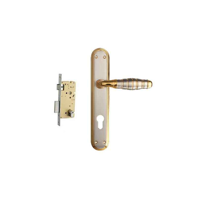 Plaza Globus Gold Silver Finish Handle with 250mm Pin Cylinder Mortice Lock & 3 Keys