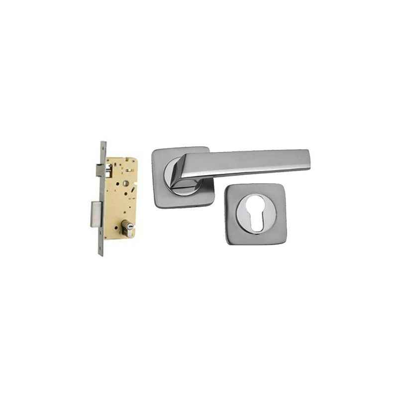 Plaza Mondeo Rose SS Finish 250mm Pin Cylinder Mortice Lock with Handle & 3 Keys
