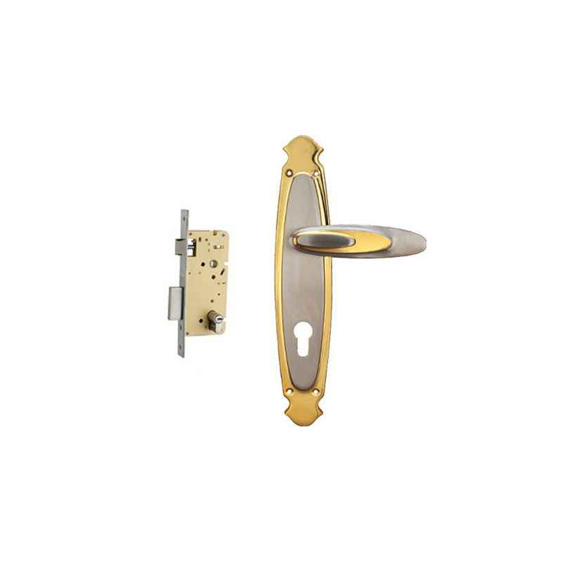Plaza Jazz Gold Silver Finish Handle with 250mm Pin Cylinder Mortice Lock & 3 Keys