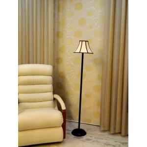 Tucasa Black Metal Floor Lamp with Stripe Pyramid Shade, LG-905