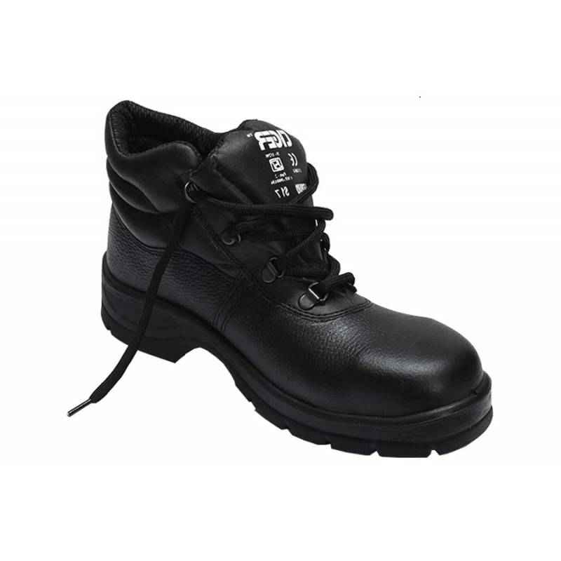 Tiger Leopard S1 BG High Ankle Steel Toe Black Safety Shoes, Size: 5