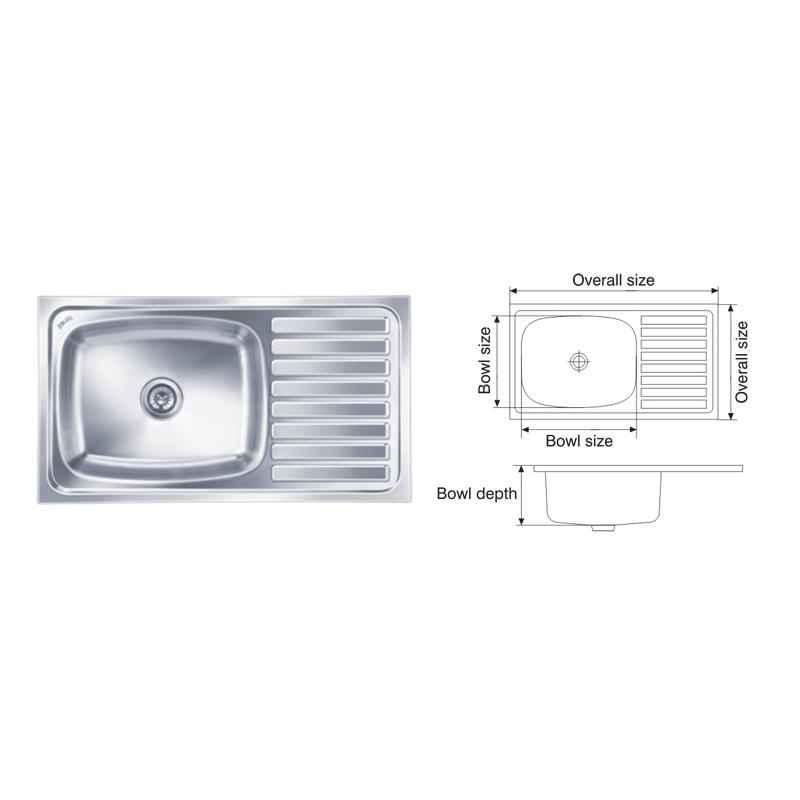 Nirali Elegance Ultra 915x510mm Glossy Finish Kitchen Sink