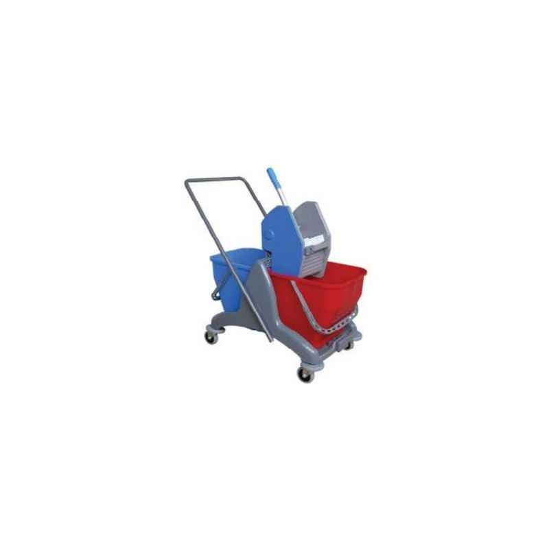Amsse DB1006 Double Bucket Wringer Trolley with Strong Plastic Chassis 25 + 25 Ltr Mop Wringer Bucket