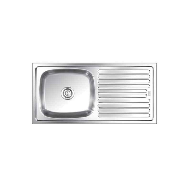 SteelKraft SSDB-111 Single Bowl Stainless Steel Sink with Drain Board, Size: 20x16 inch