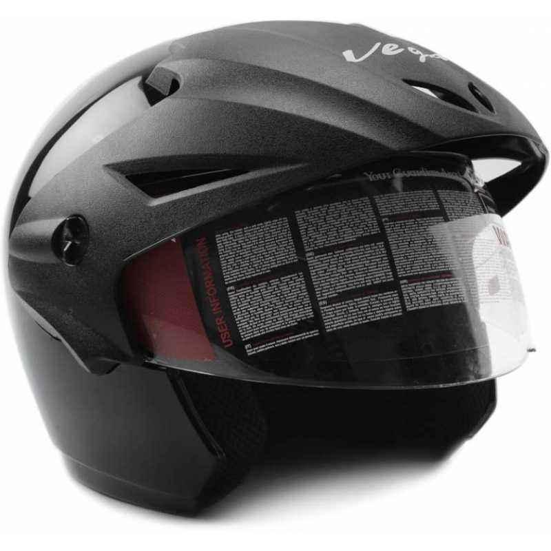 Vega Cruiser WP Black Open Face Motorbike Helmet, Size (Large, 600 mm)