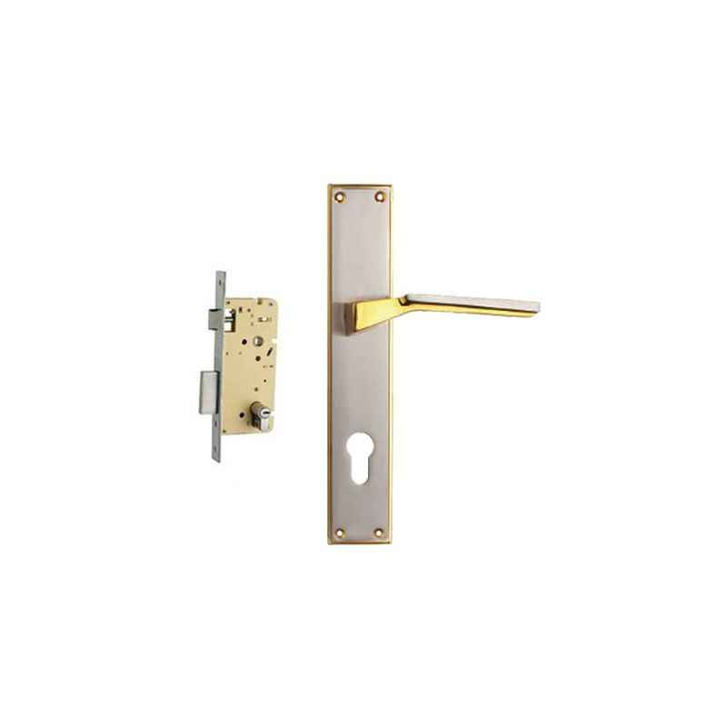 Plaza Omega Gold Silver Finish Handle with 250mm Pin Cylinder Mortice Lock & 3 Keys