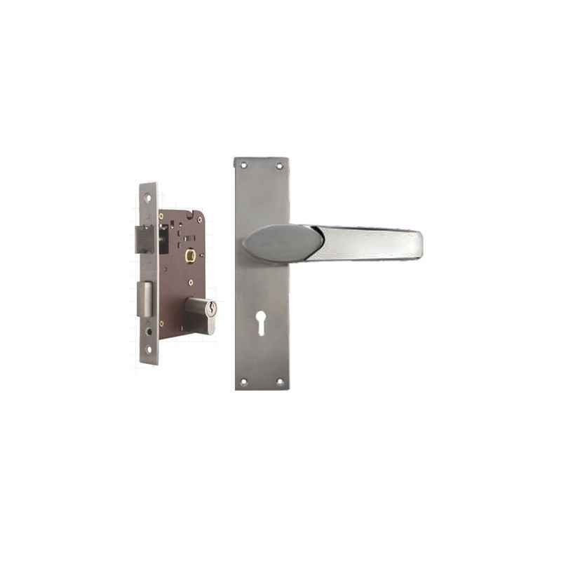 Plaza Verna Stainless Steel Finish Handle with 200mm Pin Cylinder Mortice Lock & 3 Keys