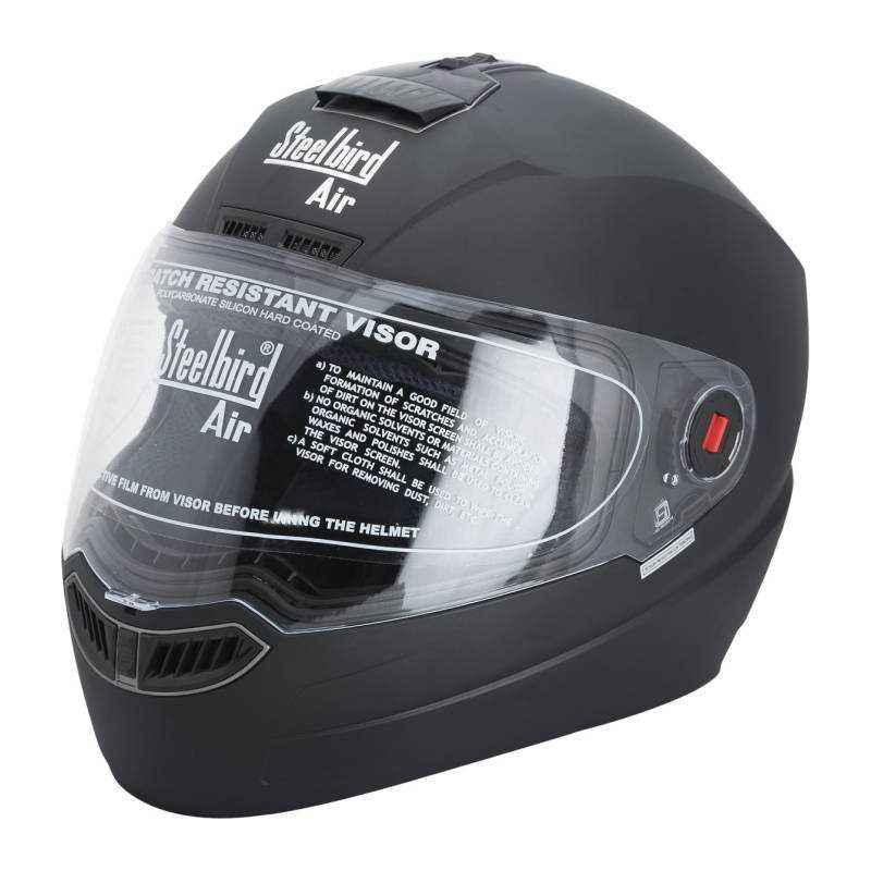 Steelbird SBA-1 Motorbike Black Full Face Helmet, Size (Large, 600 mm)