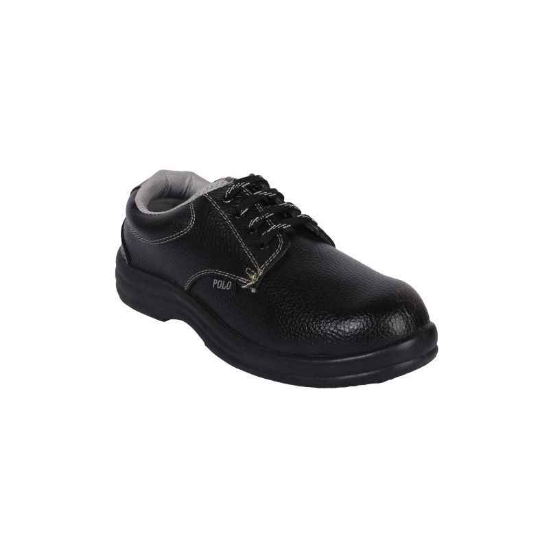 Polo Steel Toe Black Safety Shoes, Size: 5