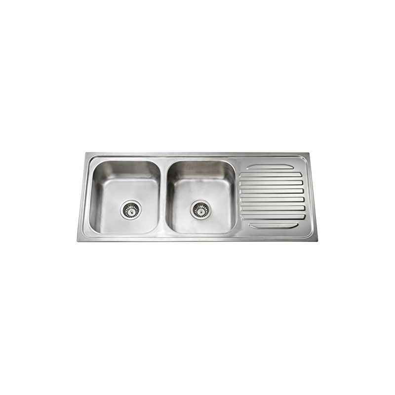 Jayna Mercury DBSD 02 (DX) Dual Finish Double Bowl (Single Drain Board Sink), 66.5 x 20 In