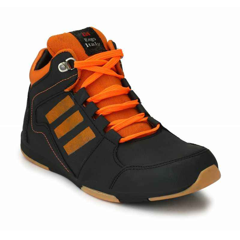 Eego Italy WW-63 Leather Steel Toe Black Safety Boots, Size: 9