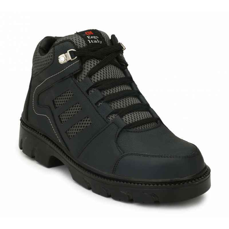 Eego Italy WW-65 Heavy Duty Leather Steel Toe Black Safety Boots, Size: 7