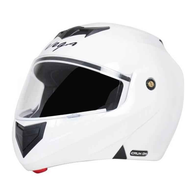 Vega Crux DX Motorbike White Full Face Helmet, Size (Medium, 580 mm)