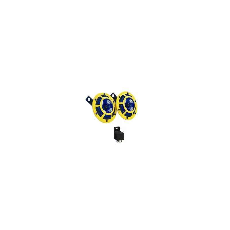 Hella Yellow Panther Bike Horn Set with Relay For TVS Flame SR125