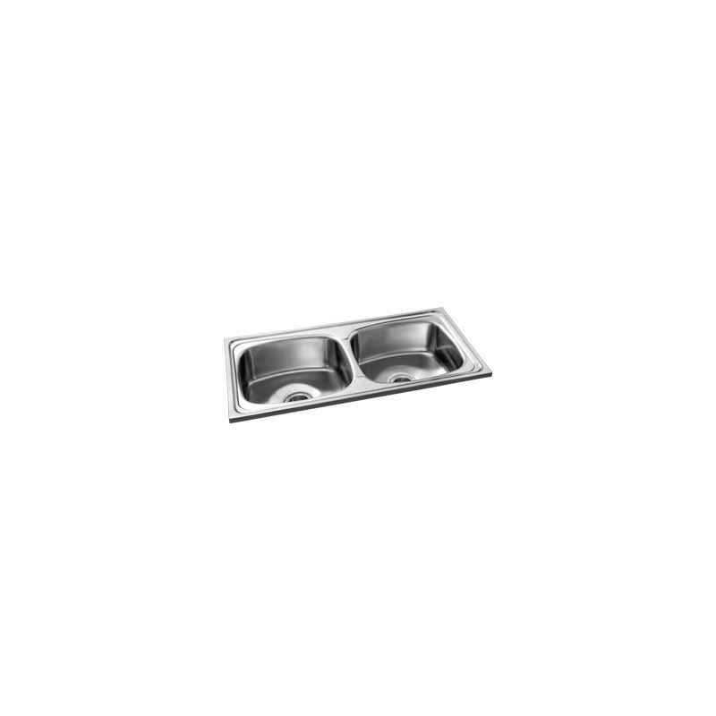 Camry CS-DB-3718-8 Stainless Glossy Steel Double Bowl Kitchen Sink, Steel Grade: JSS 202