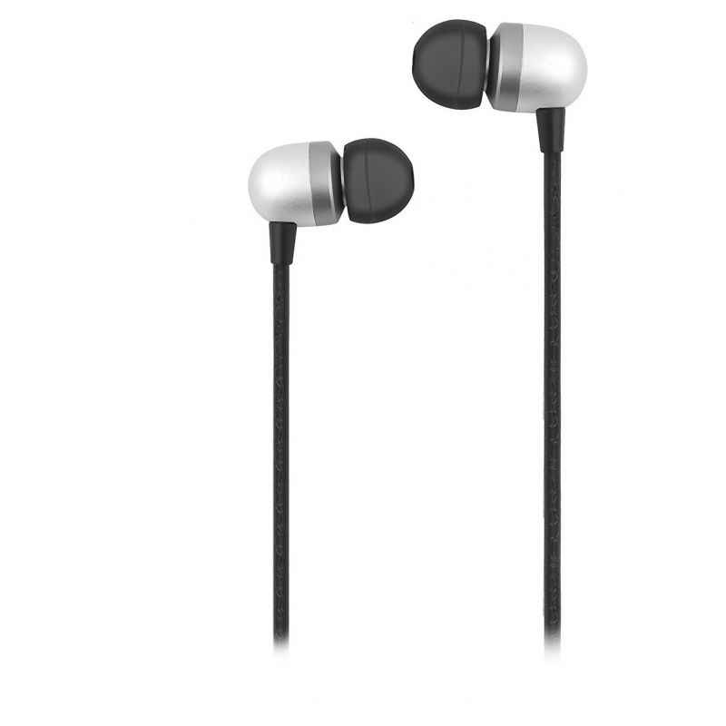 Ambrane Black Wired Metal Headset with Mic, EP-40