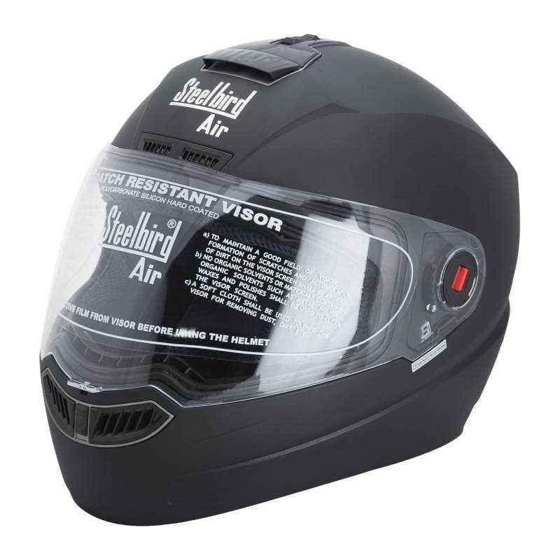 Steelbird SBA-1 Motorbike Classy Black Full Face Helmet, Size (Large, 600 mm)