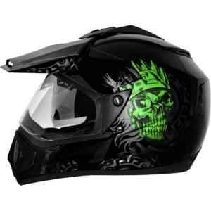 Vega Off Road Ranger Motocross Black Green Helmet, Size (Medium, 580 mm)