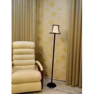 Tucasa Black Metal Floor Lamp with Stripe Square Shade, LG-904