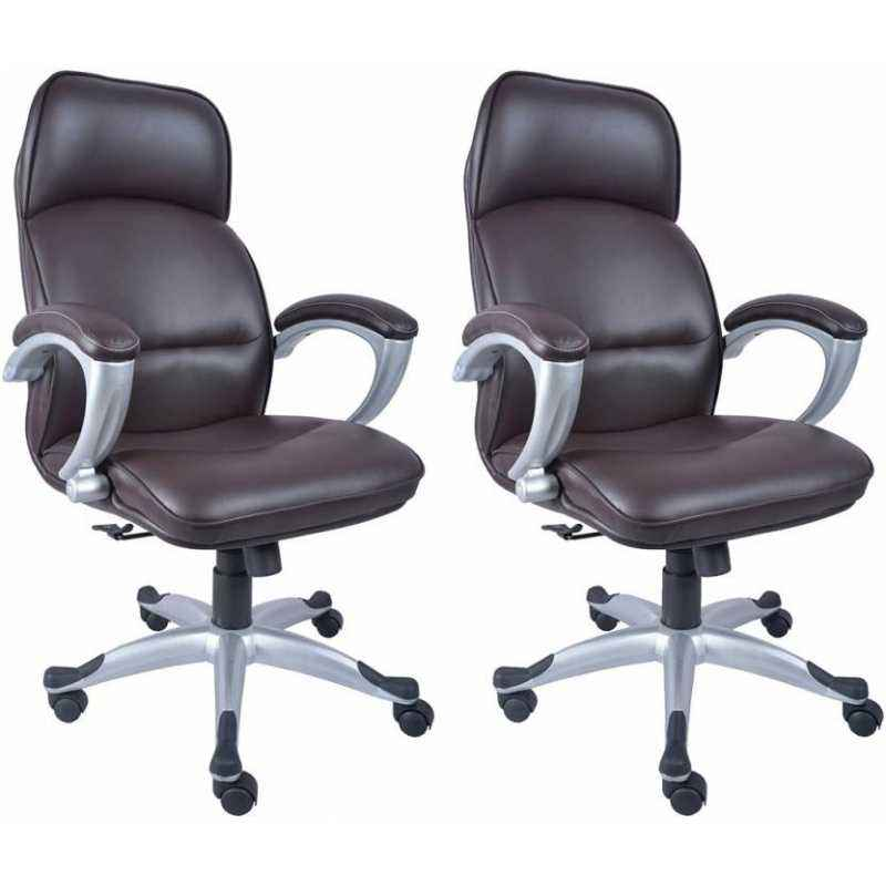 Mezonite High Back Leatherette Brown Office Chair (Pack of 2)