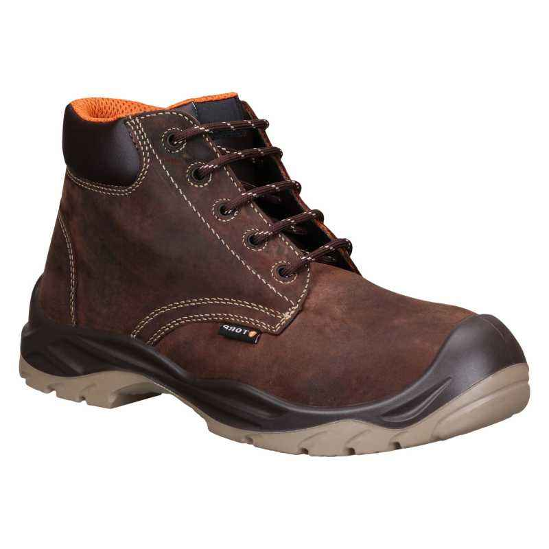 Torp REDDING-02 High Ankle Leather Composite Toe Brown Safety Shoes, Size: 7